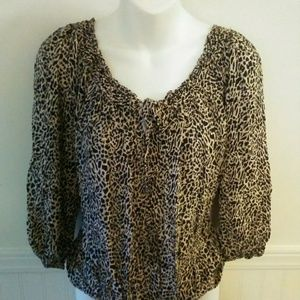 Pure Energy Cheetah Print Blouse Size 1 (1x)